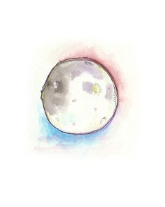 """""""Moon"""" – 2016  Water colour , ink pen on paper"""