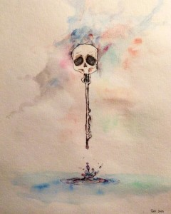 """""""unlocking death with purifying blood – the story of salvation"""" – 2017 Water colour, ink pen on paper"""